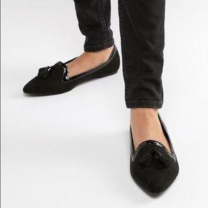 ASOS Design Locker Pointed Loafer Ballet Flats